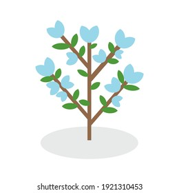Illustration of flowers blooming on the branches on white background. (flowering tree in spring, summer, seasonal, nature, outdoors)