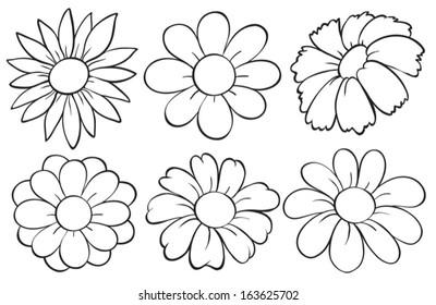 flower clipart black white images, stock photos & vectors | shutterstock  shutterstock