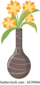 illustration of flowers in vase on a white background