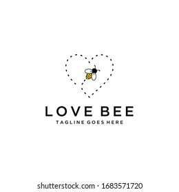 Illustration fly bee with heart sign abstract modern logo inspiration