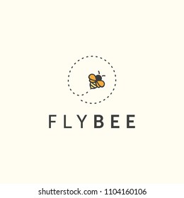 Illustration fly bee sign abstract modern logo inspiration