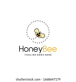 Illustration fly bee sign abstract modern logo template.