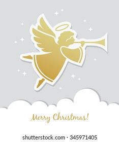Illustration of flying angel with trumpet for Christmas card, banner or poster design