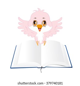 Illustration of a Flying Bird Carrying an Open Blank Book on its Feet