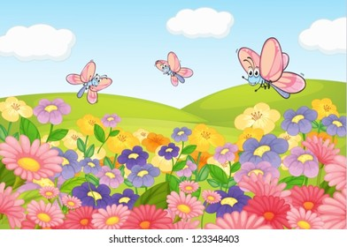 Illustration of a flying butterflies in beautiful nature