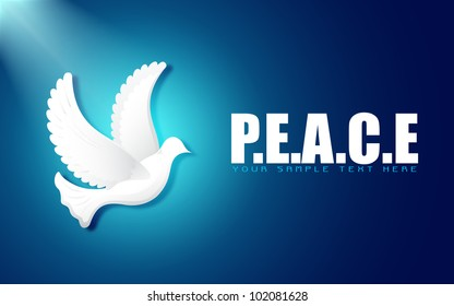 illustration of flying dove on peace background