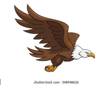 Illustration of the flying eagle on white background