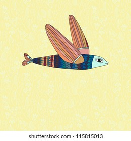 Illustration with flying fish. Vector