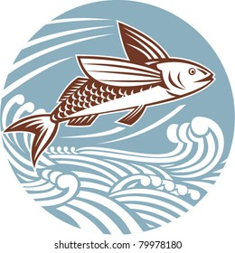 illustration of a flying fish with waves done in retro style set inside a circle