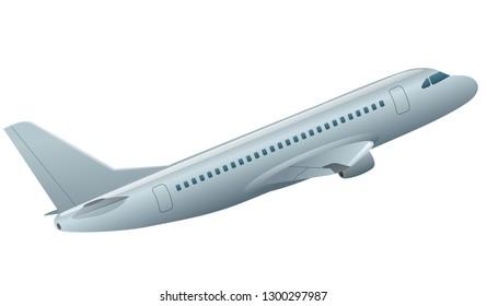illustration of flying passenger airplane in the sky