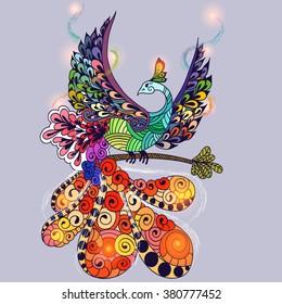 Illustration of flying Phoenix Bird. Fire burning bird with lights on wings.