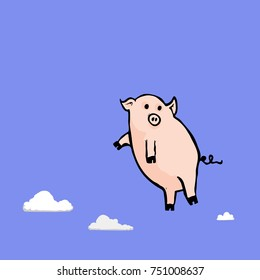 Illustration of a flying pig full of more lies and even more deceit in the clouds.