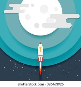 Illustration of a flying rocket near cartoon planet. Papercut origami style