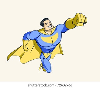 Illustration of a flying super hero in a winning pose
