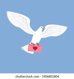 illustration of a flying white dove. bring a love envelope.