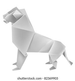 Illustration of folded paper model - lion. Vector illustration.