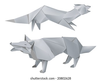 Illustration of folded paper models, fox and wolf on white background, Vector illustration.