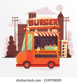 Illustration of Foodtruck Burger with Orange Color