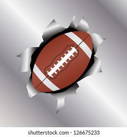 illustration of a football bursting trough a metal sheet effects.