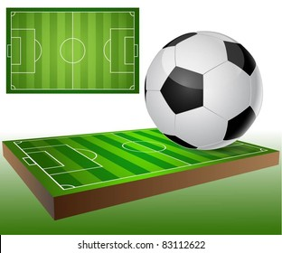Illustration of a football field and a soccer ball. Set. Vector.