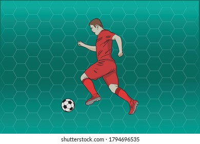 Illustration of football player with ball over abstract background