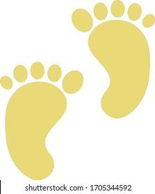 Illustration of footprints of children's feet.
