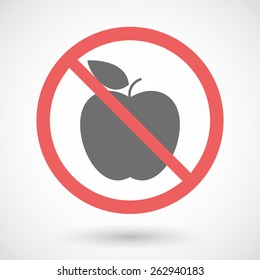 Illustration of a forbidden signal with a fruit