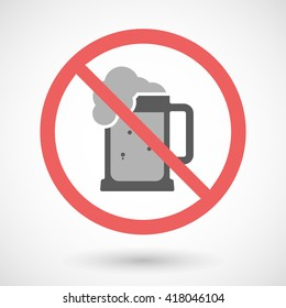 Illustration of a forbidden vector signal with   a beer jar icon