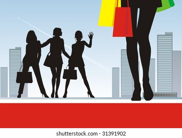 In the illustration foreground female feet and bright packages. Near to them three female silhouettes. On a distance shot a city landscape with skyscrapers.