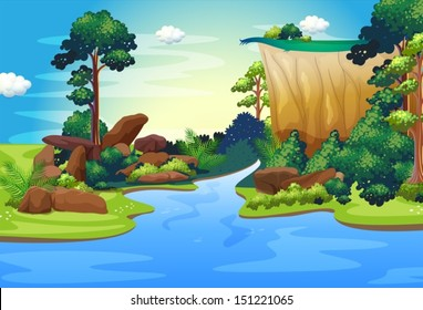 Illustration of a forest with a deep river