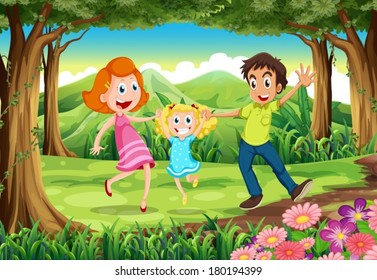 Illustration of a forest with a happy family