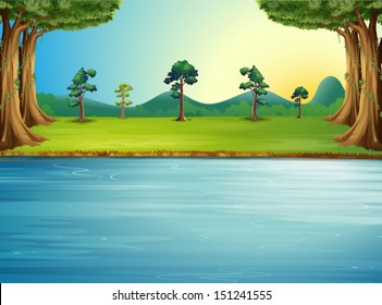 Illustration of a forest with a river