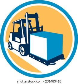 Illustration of a forklift truck and driver at work lifting handling box crate set inside circle on isolated background done in retro style.