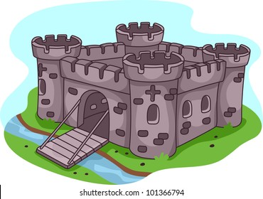 Illustration of a Fortified Castle