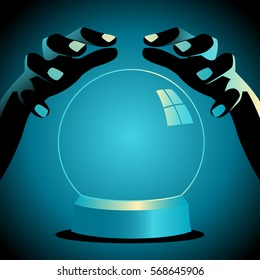 Illustration of a fortune teller hands with crystal ball