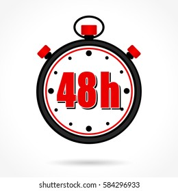 Illustration of forty eight hours stopwatch on white background