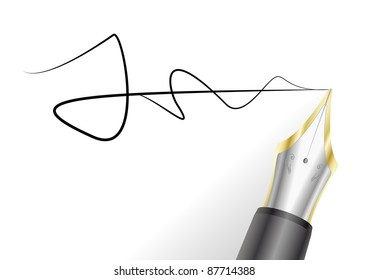 illustration of a fountain pen with signature