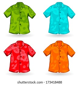 Illustration of four of Aloha Shirts. Can also be customized with aloha pattern.