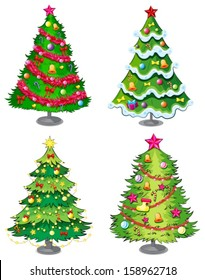 Illustration of the four christmas trees on a white background
