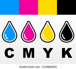 Illustration of four color drop icons design