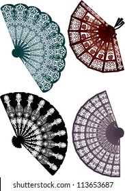 illustration with four decorated fans isolated on white background