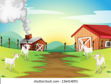 Illustration of the four goats in the farm