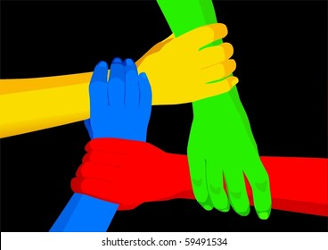 Illustration of four hands holding each other