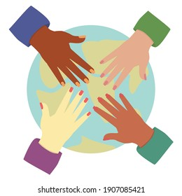 Illustration of four human hands from different ethnic groups on the background of planet earth