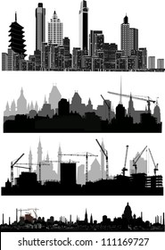 illustration with four modern city landscapes isolated on white background