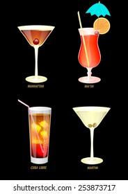 illustration of four popular cocktails on a dark background.