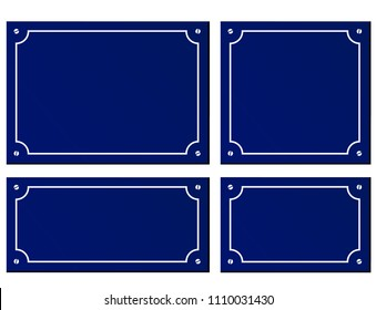 Illustration of four sizes blue plaques background