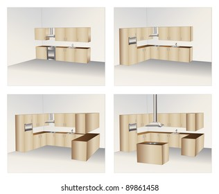 Illustration of four variants of wood kitchen cabinets