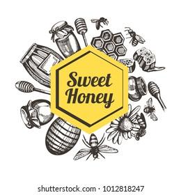 Illustration four your design. Honey,bank, glass, flower, honeycomb, barrel, bee