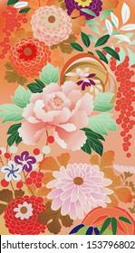illustration: fragment of a vintage kimono